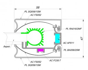 alurain PanelLight 58 mm sq 1 PanelLight 58 мм SQ (квадратного сечения)