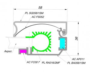 alurain PanelLight 58 mm sq 3 PanelLight 58 мм SQ (квадратного сечения)