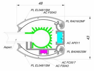 alurain panel light 48mm 2 PanelLight 48 мм EL (закругленного сечения)