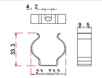 phoca thumb l klipsa stalnaya dlya krepleniya lyumineszentnih lamp t8 f26mm schema - Фурнитура для люминесцентных ламп