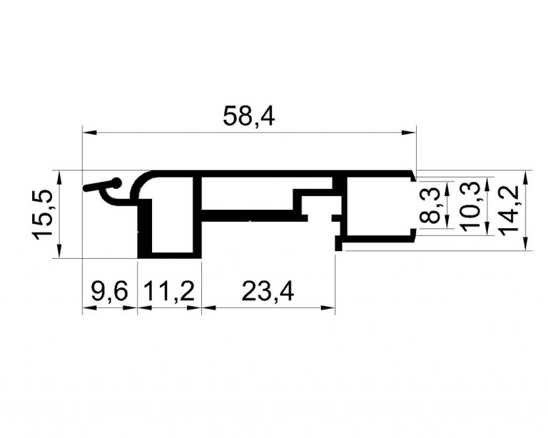 Vitrinnaya sistema windowbox 30 chertezh WB HG058 1SM 768x614 - Витринный короб с дверцей WindowBox 30
