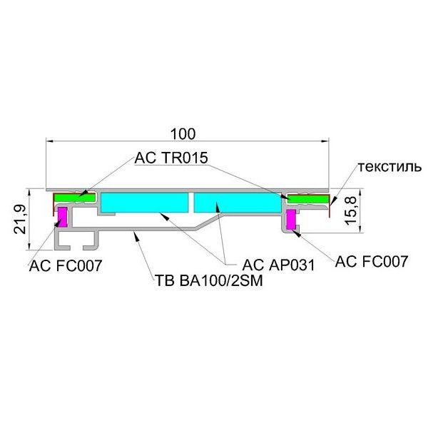 TexBox 100 usilennyj dlya odnostoronnego svetovogo koroba s tekstilem 3 600x600 - TexBox 100 усиленный профиль для лайтбоксов (Система алюминиевых профилей)