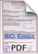 Сертификат для ПВХ Ondex Bio, Ecolux