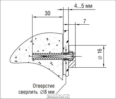 Держатель крепления панелей к стене 5.12 d=16