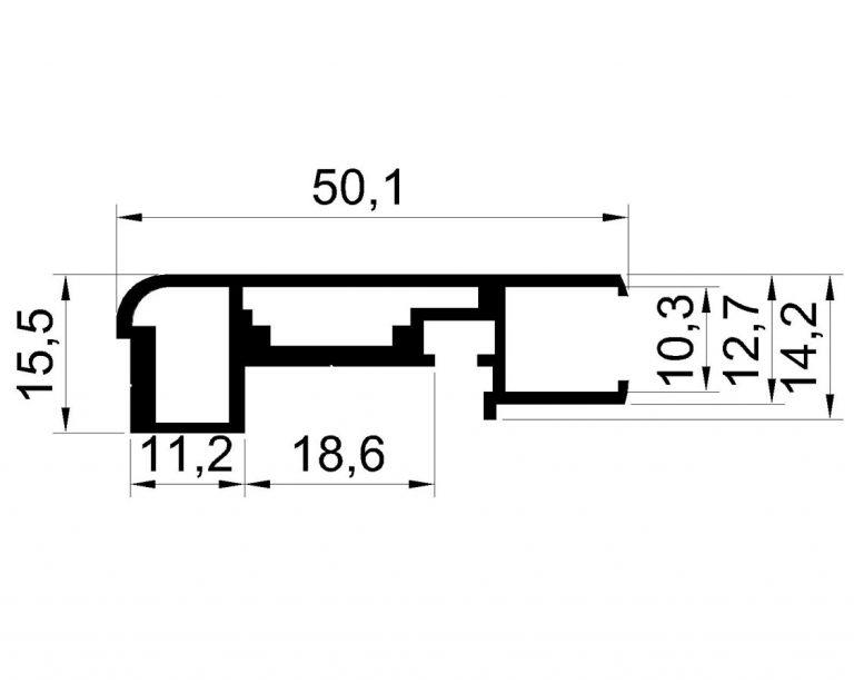 Vitrinnaya sistema windowbox 30 chertezh WB FR050 1SM 768x614 - Витринный короб с дверцей WindowBox 70